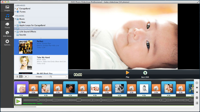 add baby music to slideshow