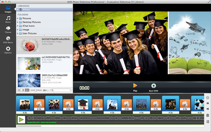 add pictures to graduation slideshow