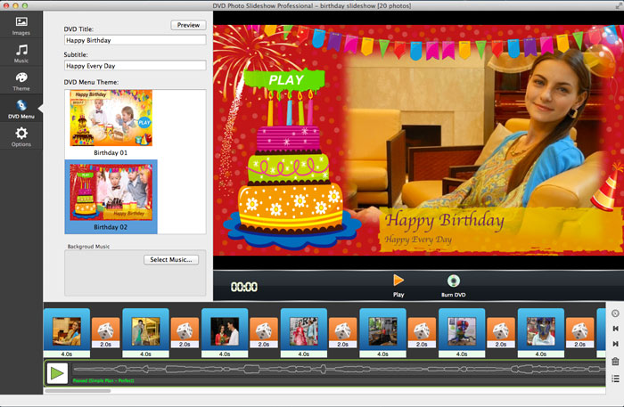 DVD slideshow with birthday menu