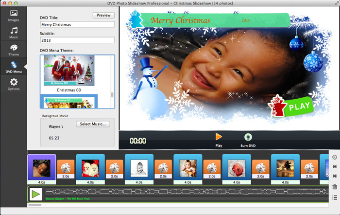 DVD slideshow with Christmas theme