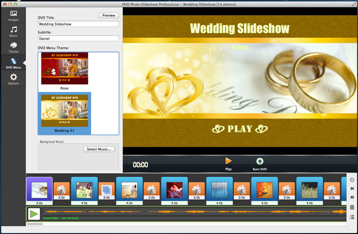 DVD Slideshow With Wedding Menu